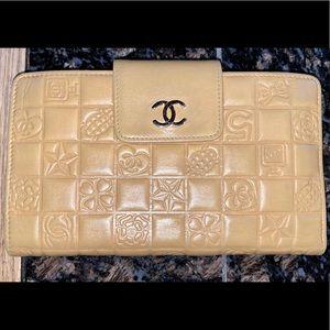 Chanel Icon Lambskin Kiss Lock Long Wallet